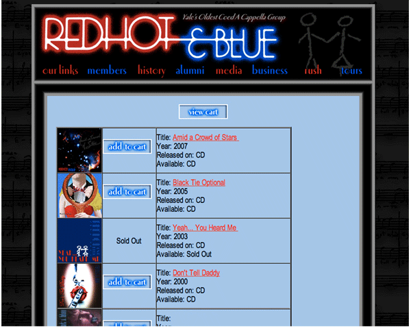Redhot & Blue is an a cappella group at Yale University. I built their website, whose goal was to distribute group news, publicize upcoming concerts, sell albums and event tickets, and provide information to potential clients.