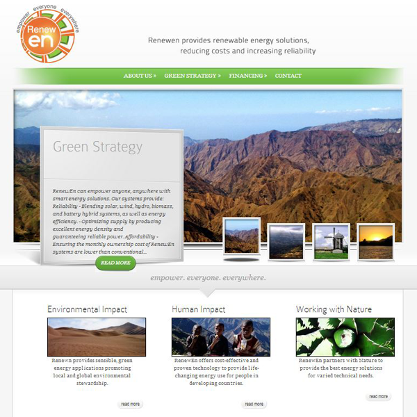 The RenewEn website provides information about the services offered by this energy company. Their services focus on renewable energy, distributed generation, energy efficiency, and reliability.