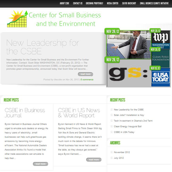 I volunteered to build the website for the Center for Small Business and the Environment, which is a 501(c)(3) focused on mobilizing small businesses to help protect the environment.